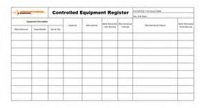 Controlled Register Template by Controlled Equipment Management