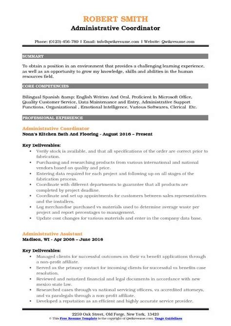Administrative Coordinator Resume by Administrative Assistant Coordinator Resume Sles