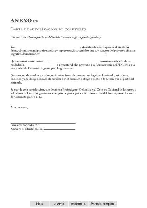 carta de autorizacion compartir informacion banesco convocatoria fdc2014 anexos ficcion
