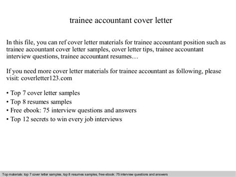 cover letter for trainee accountant trainee accountant cover letter