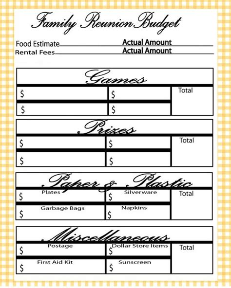 free printable family reunion worksheets family reunion budget family reunion pinterest