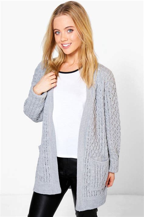cable knit cardigan womens boohoo womens natalie cable knit cardigan with