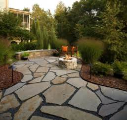flagstone patio and pit traditional