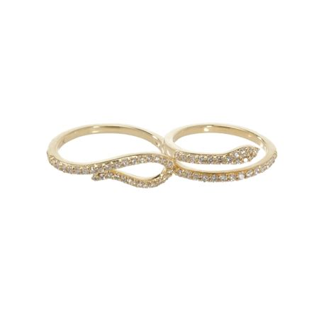 khai khai two finger serpent ring in metallic lyst
