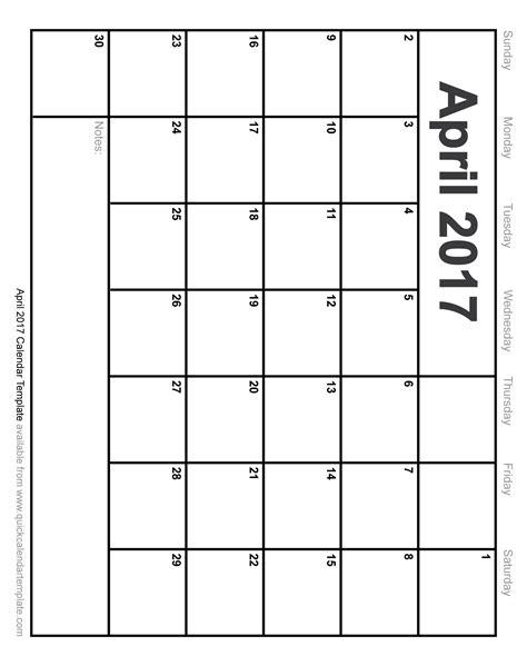 blank calendar template pdf blank april 2017 calendar pdf 2017 calendar template