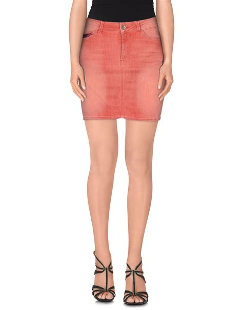 guess denim skirt in pink lyst