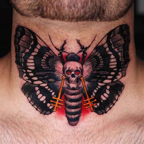 skull butterfly tattoo on nech best tattoo ideas gallery