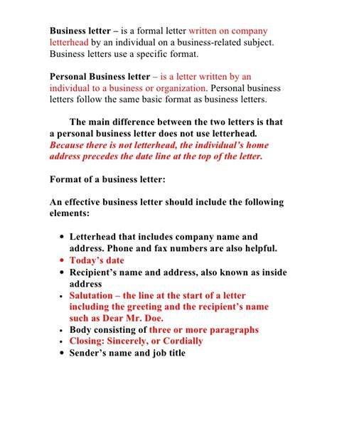 letter format individual to business business letter information sheet