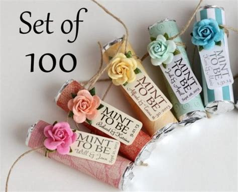 "Set Of 100 Mint Wedding Favors With Personalized ""Mint To Be"" Tag   Choose The Wrap And Flower"