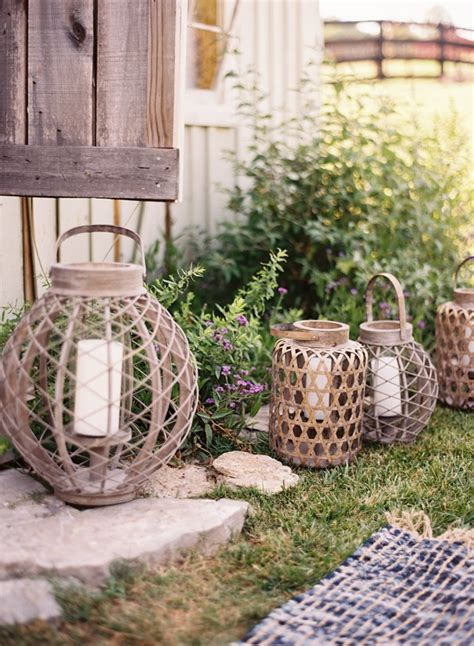 outdoor wedding reception decorations wire candle lanterns