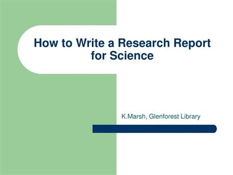 how to write a report on a research paper ppt how to write a research report for science