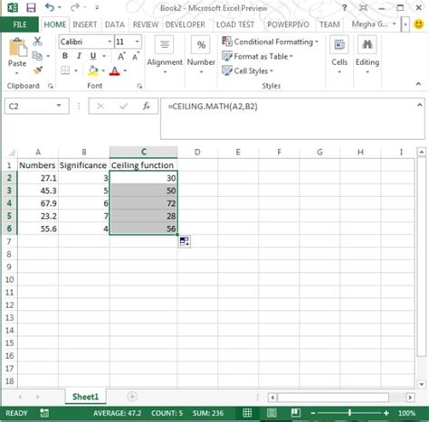 Ceiling Function Excel by Ceiling Math Function In Excel 2013
