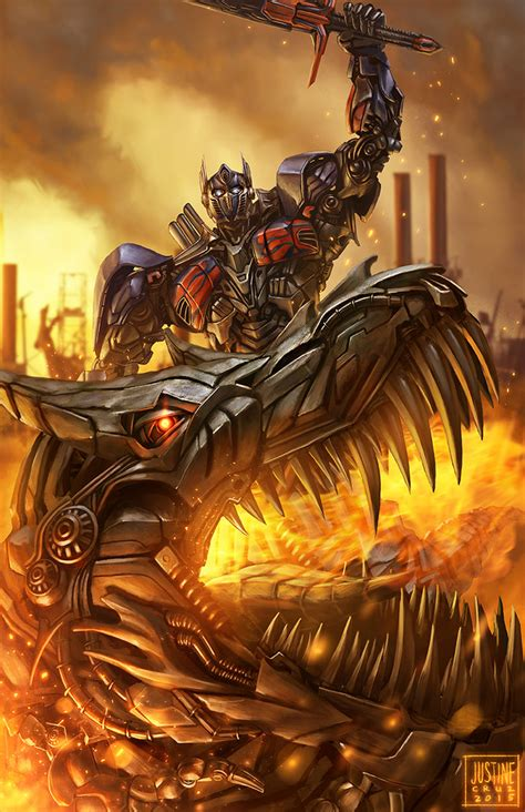 transformers painting optimus prime and grimlock fan by justinetutubi on