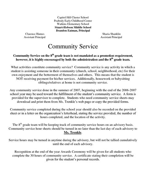 Community Service Hours Letter For School Community Service Letter Template Cover Letter Exle