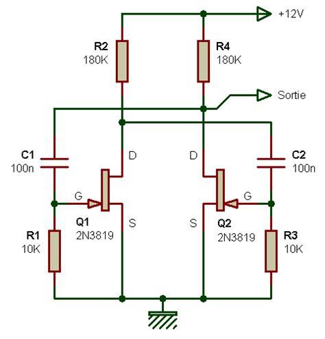 transistor fet de junção electronique bases oscillateur rectangulaire