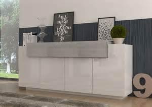 Credenza Dimensions Meuble Buffet Blanc Et Bois Gris 4 Portes 1 Tiroir