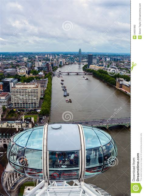 thames river capital the london eye capsule skyline view editorial