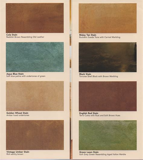 concrete acid stain color chart color charts coatings stains cabinets quality pro
