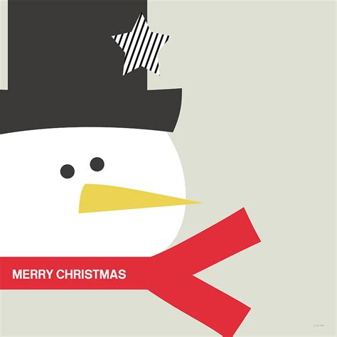 merry christmas modern modern snowman merry christmas red art by linda woods