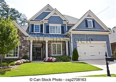 Cape Cod House Plans With Attached Garage stock photos of blue siding and stone house a nice