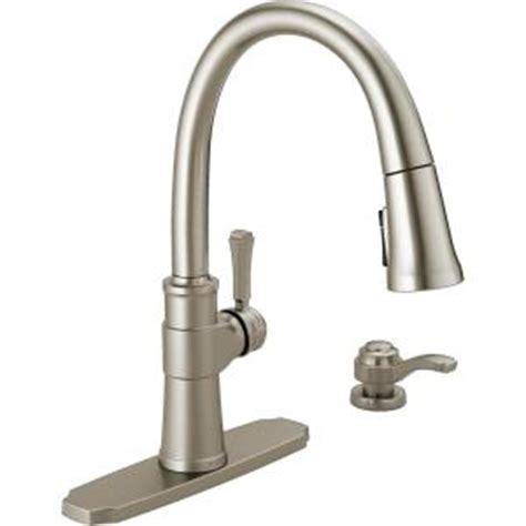 delta spargo single handle pull  sprayer kitchen faucet  soap dispenser  spotshield