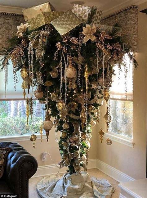 festive trend sees people decorating upside  christmas trees creative christmas trees