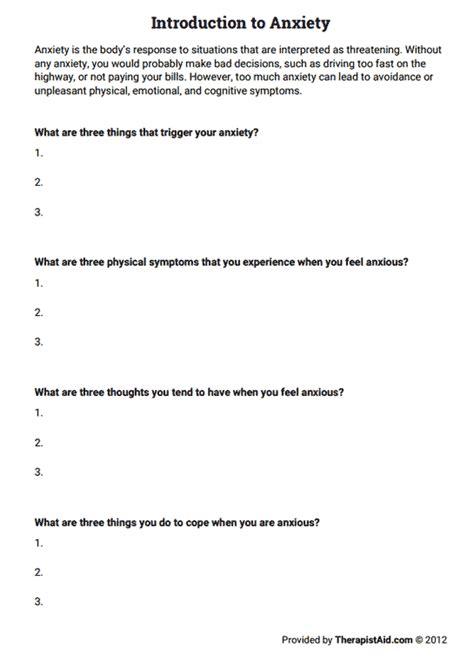Anxiety Worksheet introduction to anxiety worksheet therapist aid
