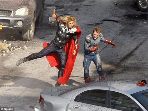 Captain America Fighting Captain America Thor Fighting Together On Set Of The