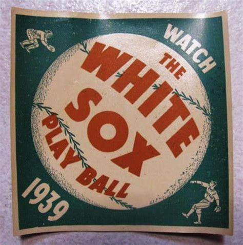 lot detail 1939 chicago white sox home schedule decal
