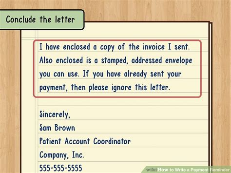 Polite Payment Reminder Letter how to write a payment reminder 13 steps with pictures