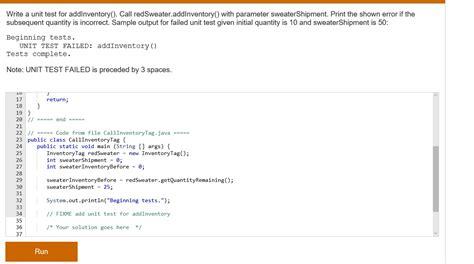 tutorial c unit test solved java programing write a unit test for addinventor