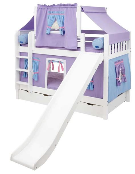 Bunk Bed With Slide And Tent Maxtrix Playhouse Tent Bunk Bed W Slide Purple Blue On White 720 2s