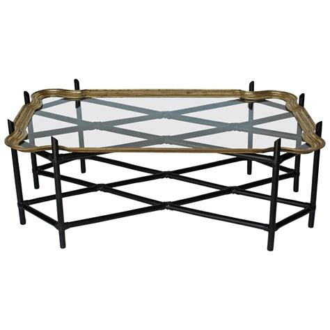 faux bamboo and glass and brass tray coffee table for sale