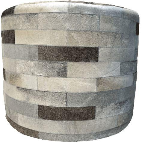 grey round ottoman gray round cowhide ottoman 24 inch