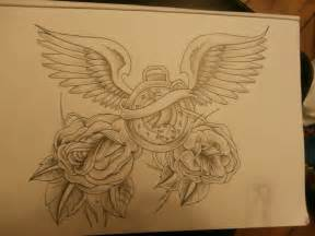 rose tattoo with wings clock drawings design clock with wings