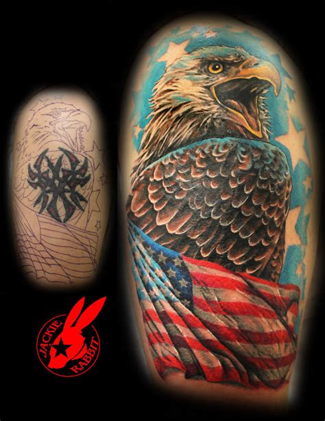 patriotic tribal tattoos eagle flag tribal cover up by jackie rabbit by