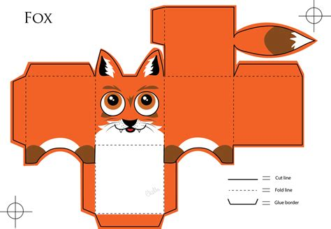 Papercraft Box Template - fox paper craft by veavictis on deviantart