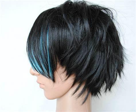 emo hairstyles wigs sale black ice wig men guy emo black blue hair scene
