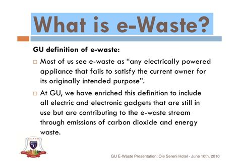 define arrange e waste presentation