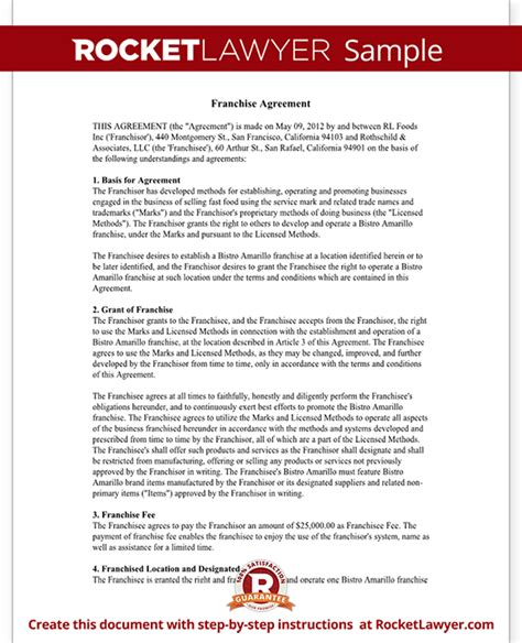 Franchise Purchase Agreement Form With Sle Franchise Purchase Agreement Template