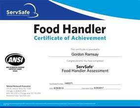 Food Manager Certificate Servsafe Food Handler Certificate Large