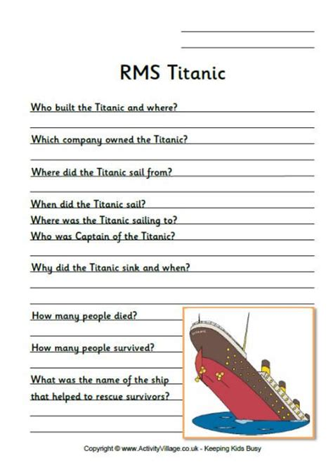 printable titanic quiz titanic sinking coloring pages view and print pdf files