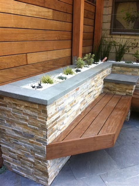 stacked stone bench 33 best built in planter ideas and designs for 2018
