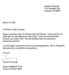 Recommendation Letter For Daycare Fosburg Letter Of Reference Family Daycare