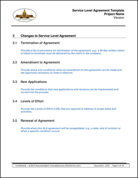 100 service level agreement template download