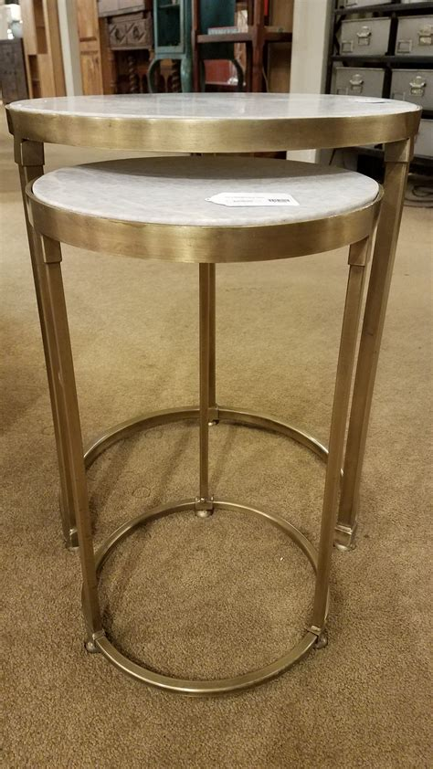 iron and marble table iron and marble nesting tables set 2 ballard consignment