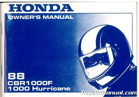 1988 Honda Cbr1000f 1000 Hurricane Motorcycle Owners Manual