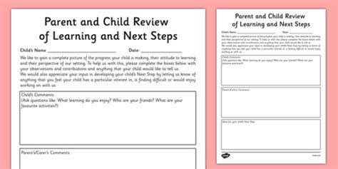Eyfs Progress Report Template Parent And Child Review Of Learning And Next Steps Template