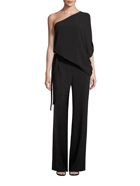 One Shoulder Black Jumpsuit heritage one shoulder wide leg jumpsuit in black