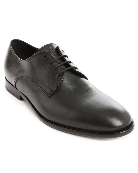 armani black leather derby shoes with stitched soles in